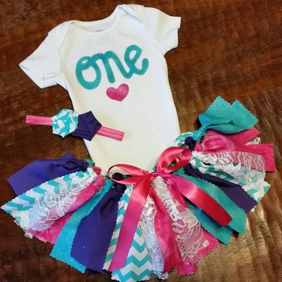 Three Piece Glittery Bright Pink Turquoise / Teal by CamiAndJo