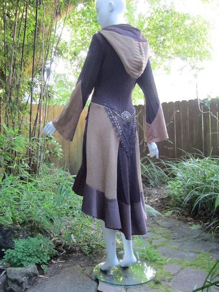 Recycled Sweater Coat 80 ... Mustard Light & Dark Brown by ipseity