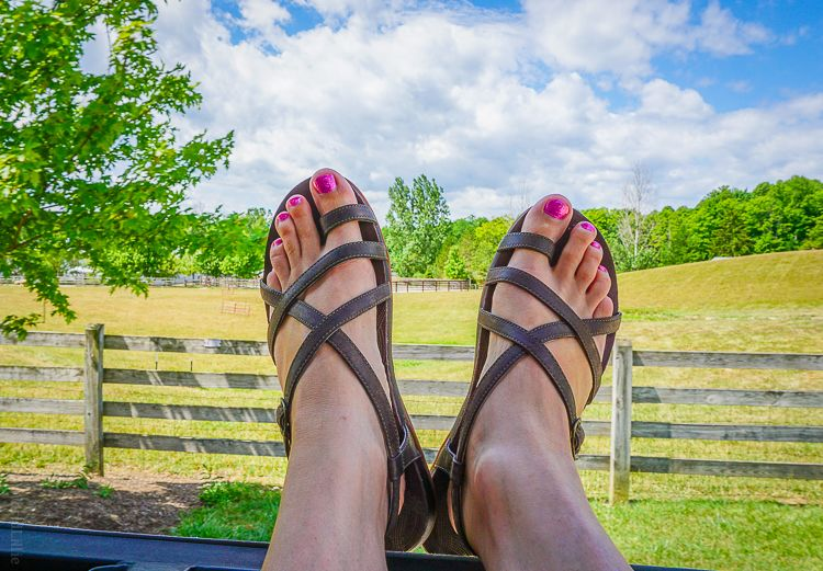 ac7c2aefa57 Showing off my Dorra sandals out the back window of a tractor ride at the  Ohio farm.