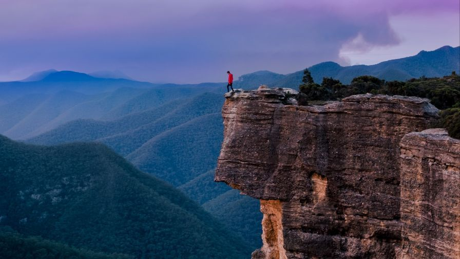 Man Standing At The Edge Of Sydney Cliff Hd Wallpaper Man