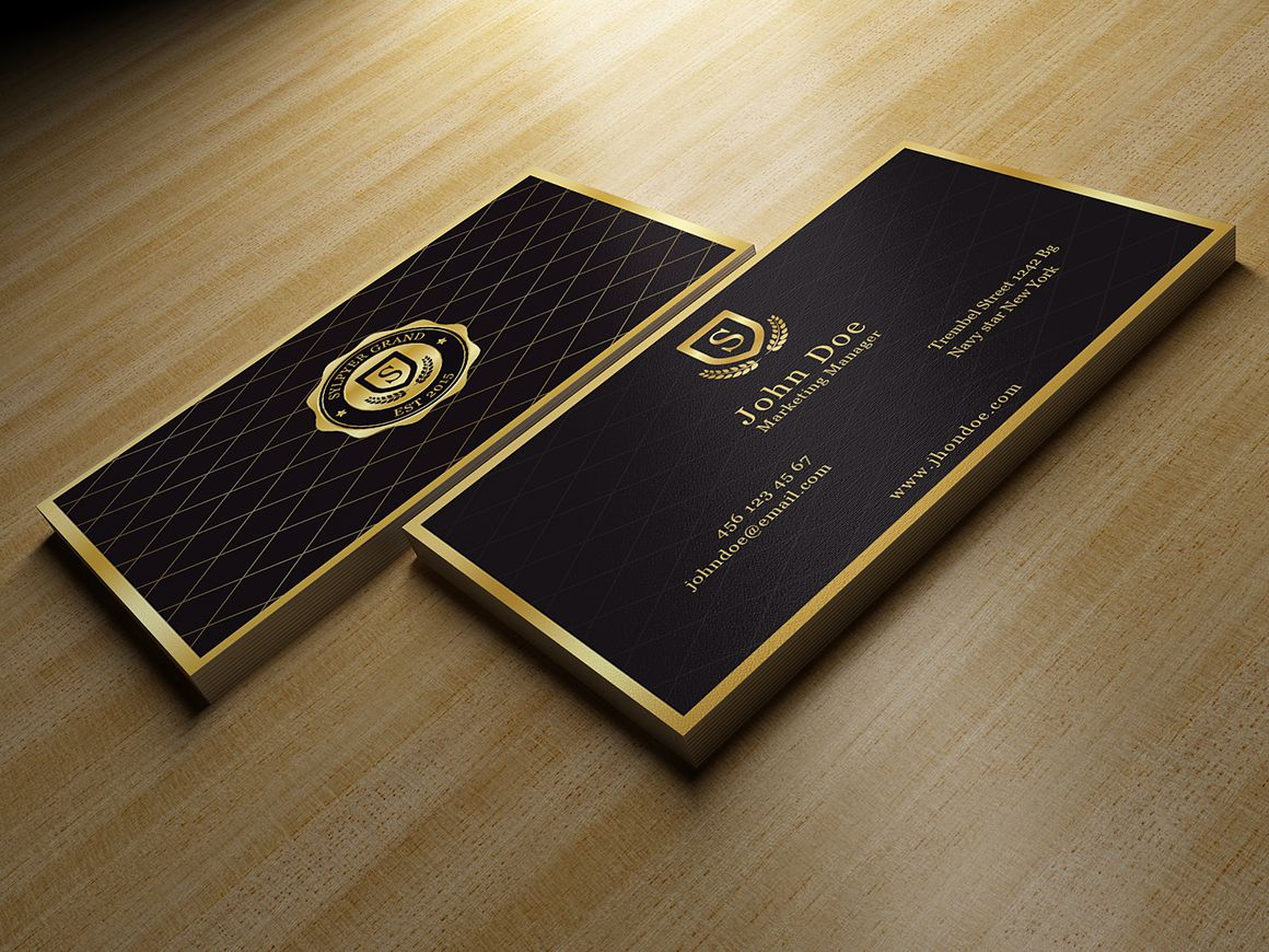 Gold and black business card with images black