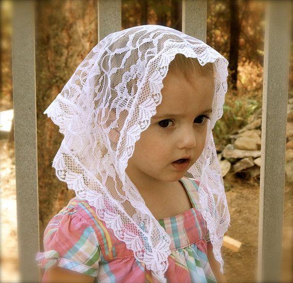 Child's size white lace chapel veil Prod. Zw01 by ZeliesVeils