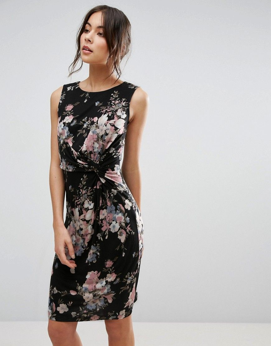Uttam Boutique Dress With Twist Front In Floral Print - Black.