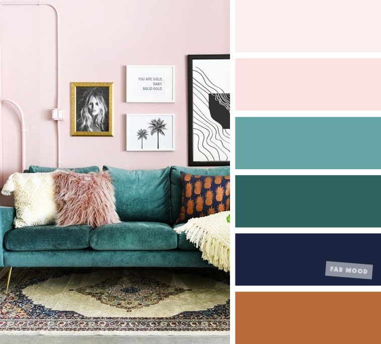 wonderful pink green living room color schemes | Blush Pink + Green Emerald + Navy Blue - Terracotta – The ...