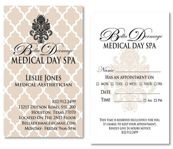Medical Spa Business Cards \/ Appointment Cards by meaganadair - medical business card templates