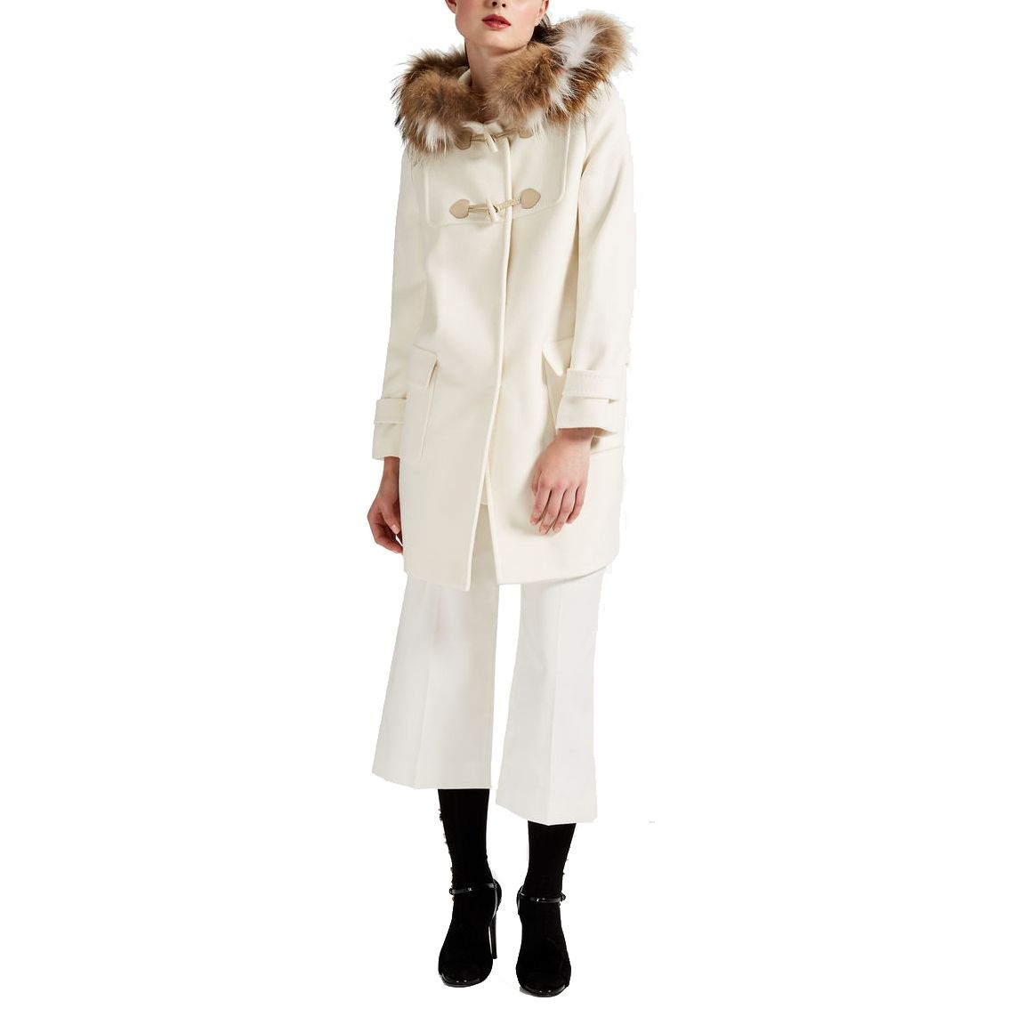 4e01332f51901 --evaChic--This Max Mara Studio Volano Fur Hood Wool Duffle Coat is