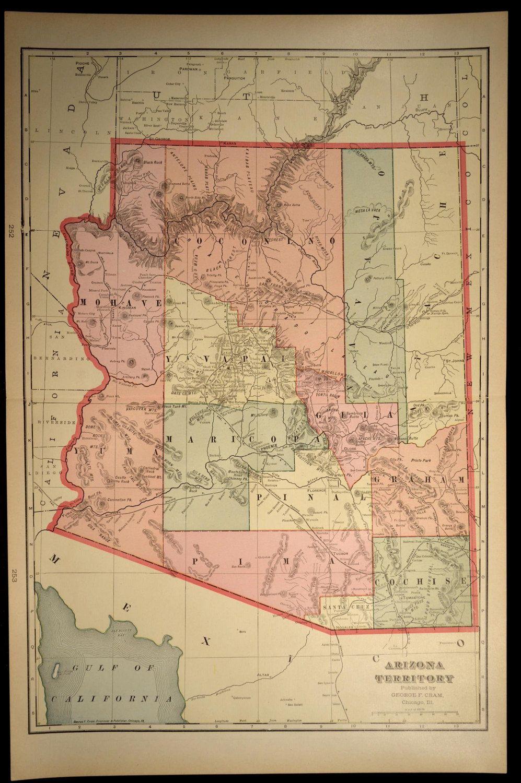 Arizona Map Arizona Antique Large Early 1900s Original 1903 Arizona Map Historical Maps Map Wall Decor