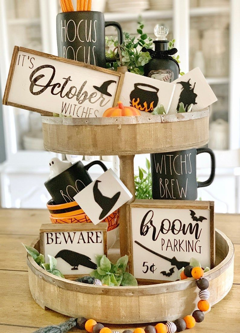 Halloween signs / hocus pocus / coffee bar / tiered tray signs / rae Dunn decor / 3D signs #tieredtraydecor