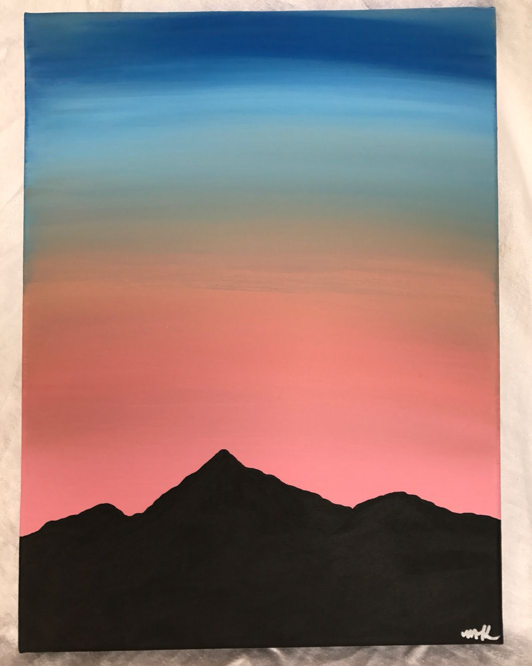 Easy Mountain Sunset Painting : mountain, sunset, painting, Chelsjor, Simple, Canvas, Paintings,, Sunset, Painting,, Small