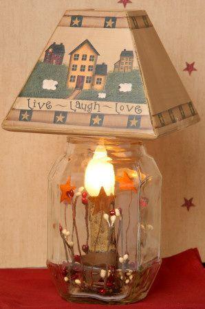 Mason Jar Electric Candle Lamp Primitive Hearts Stars Primitive Decorating Country Primitive Lamps Primitive Decorating