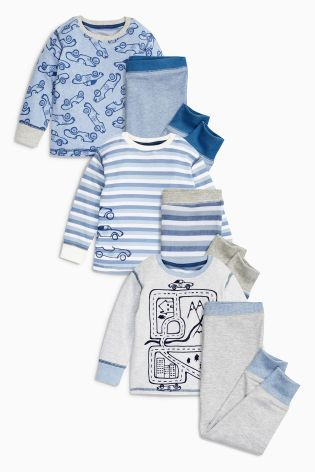 Buy Blue Marl Car And Stripe Pyjamas Three Pack (9mths-8yrs) from the Next UK online shop