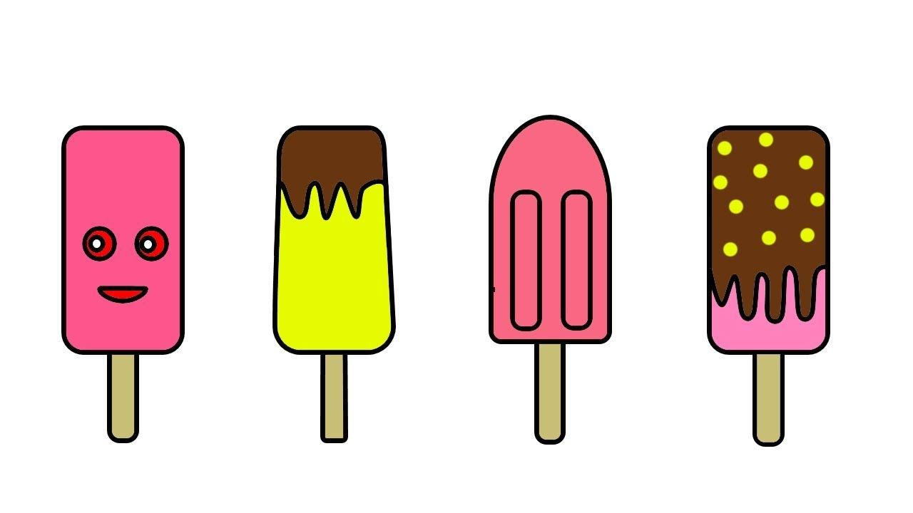 How To Draw Ice Cream Cart Ice Cream Coloring And Drawing For Kids Drawing For Kids Border Design Coloring For Kids