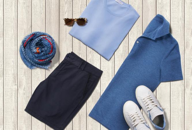 """Casual kombiniert, aber immer mit Grandezza: Der Trend """"Italian Style"""" huldigt das unvergleichliche Modegespür der Italiener mit Outfitideen für die Freizeit! Nachstylen ist beim italienisch inspirierten Look ganz einfach - auf hochwertige Shirts und Strick von GRAN SASSO setzen, mehrere Blautöne mixen und als unverzichtbare Accessoires natürlich Sonnenbrille, Sommerschal und weiße Sneakers."""