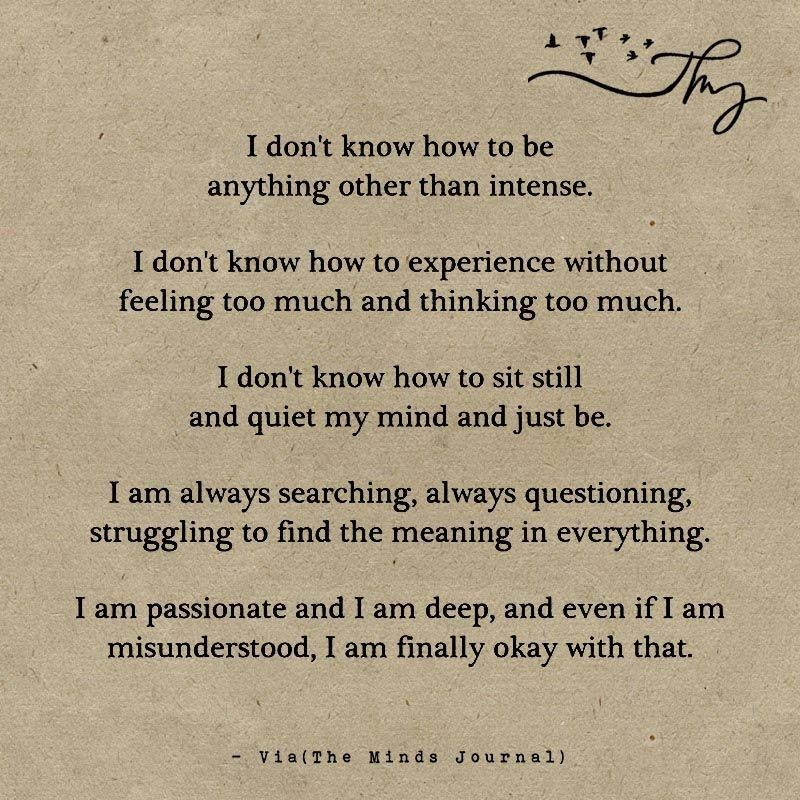 I Don't Know How To Be Anything Other Than Intense