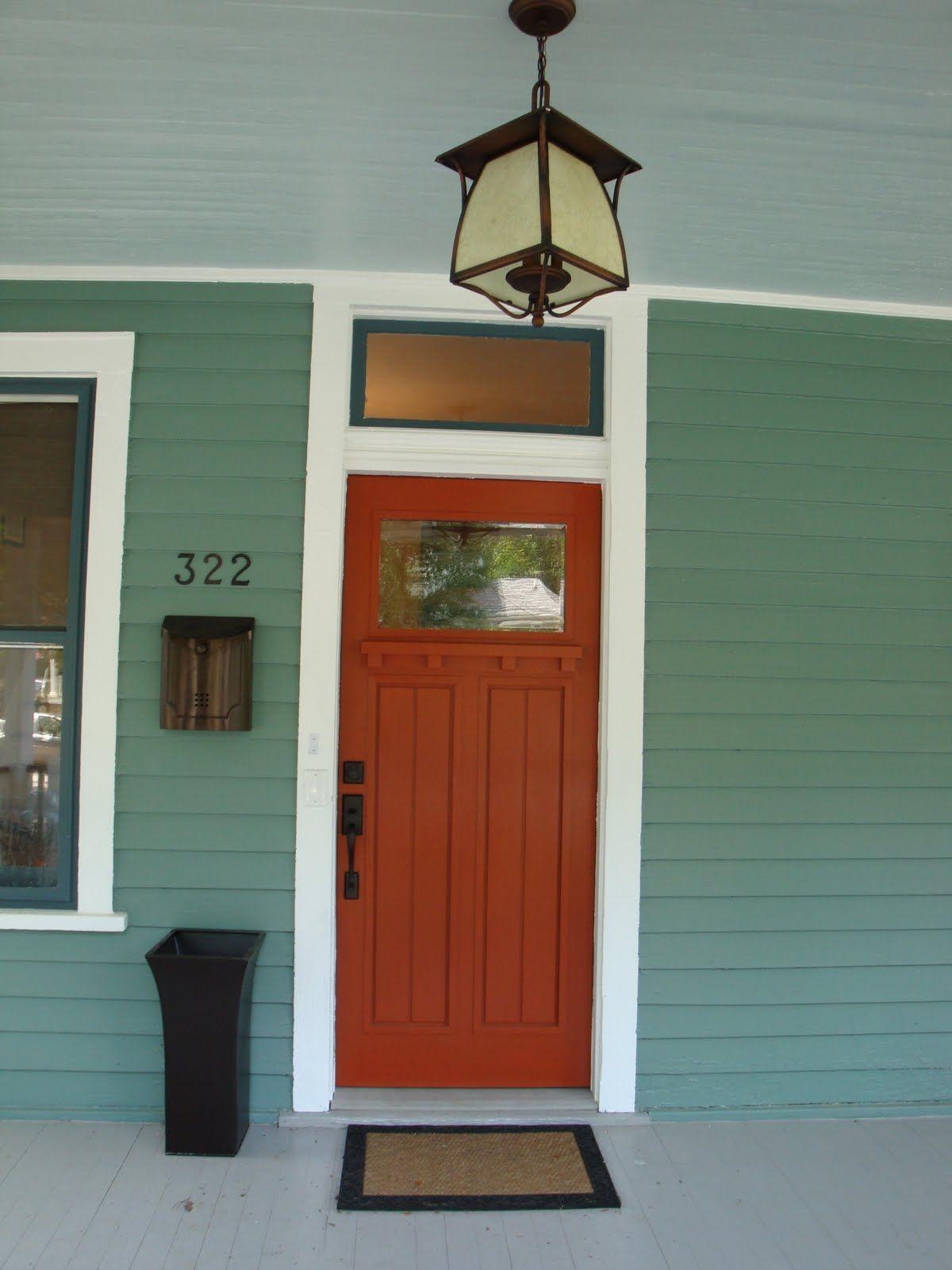 Best 106 Reference Of Exterior Green Front Door In 2020 Orange Front Doors Green Front Doors Front Door Colors