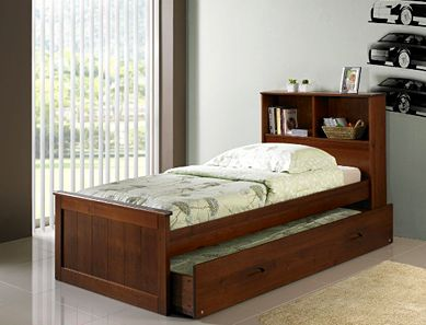 Buderim King Single Bed With Built In Bookcase Headboard Flat
