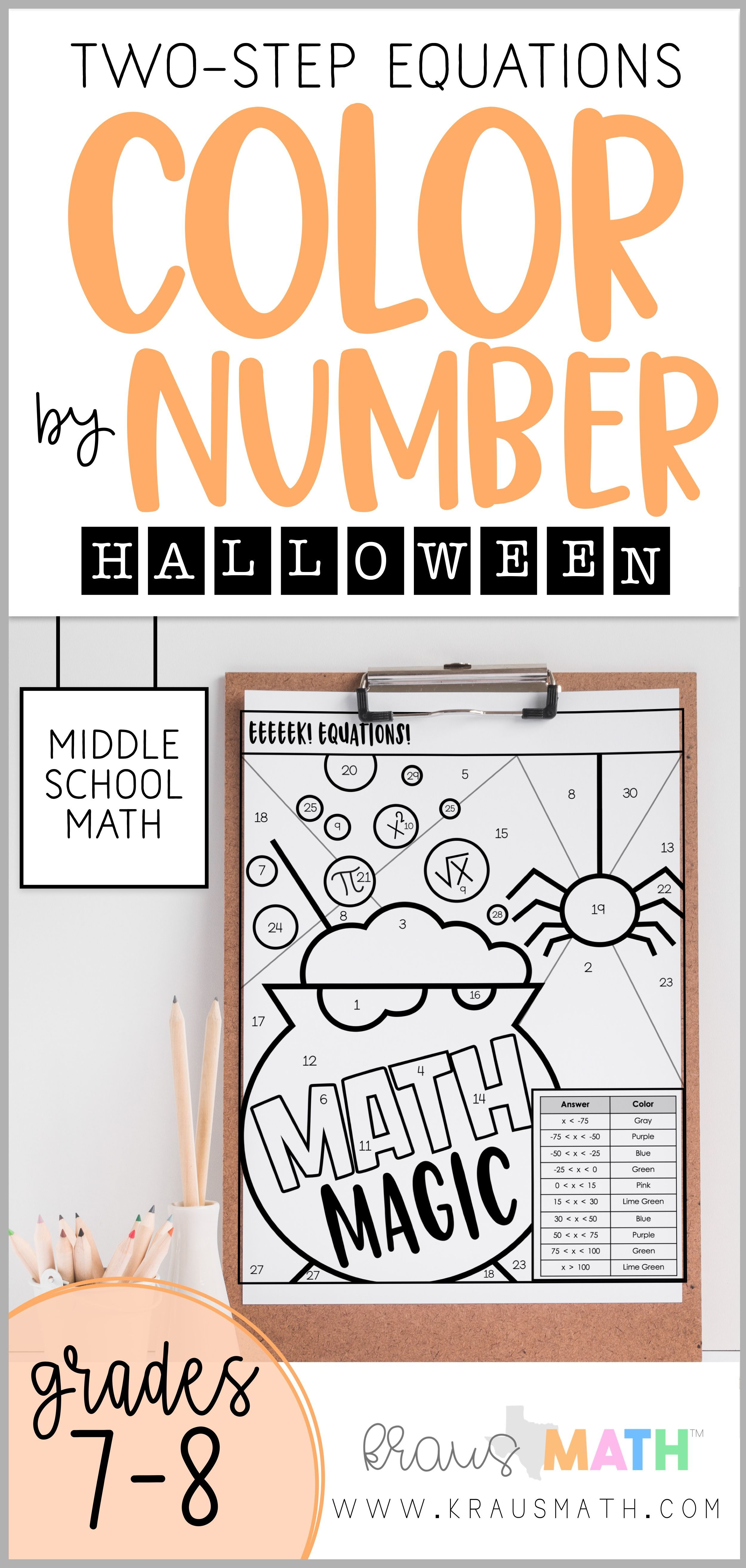 Halloween Two Step Equations Color By Number