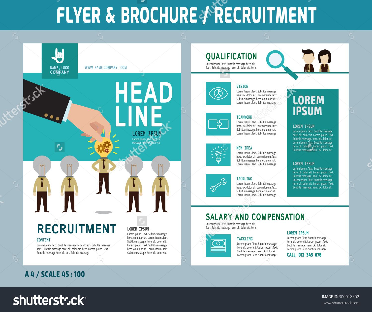 Recruitment Flyer Design Vector Template In A4 Size Brochure And