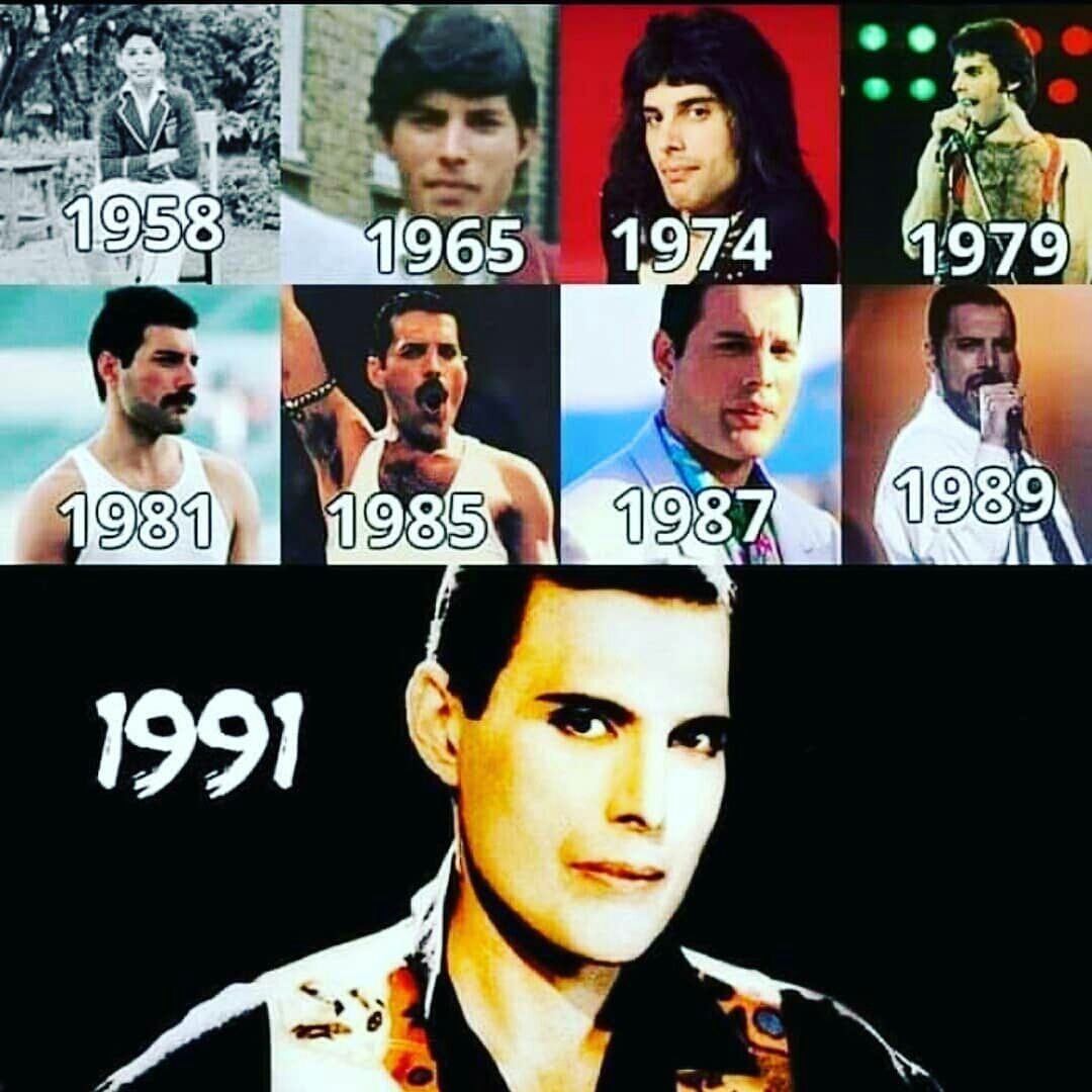 So the dates obviously aren't correct since he's a kid in the first picture, but you get the point, lol. #freddiemercuryquotes