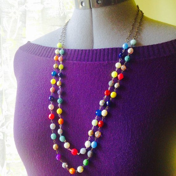 Double Strand Czech Glass Beaded Necklace. A by TheArtwerks