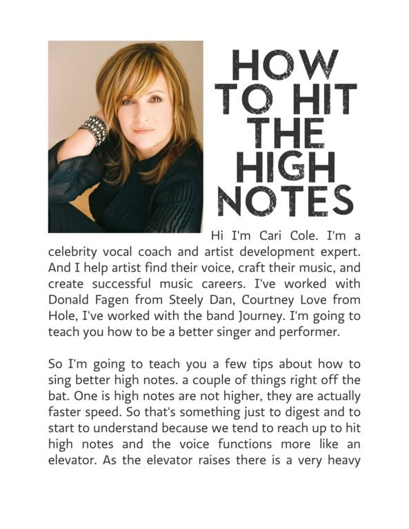 Learn How to Hit the High Notes by Cari Cole for Voice ...