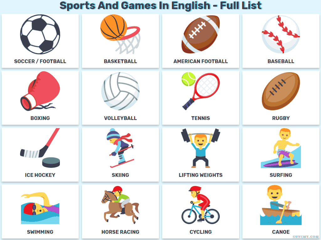 The Sports And The Games In English On Lists And Images For Kids Sports In English For You