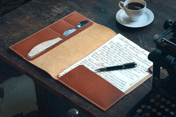 personalized leather folio    portfolio    document holder    case    folder