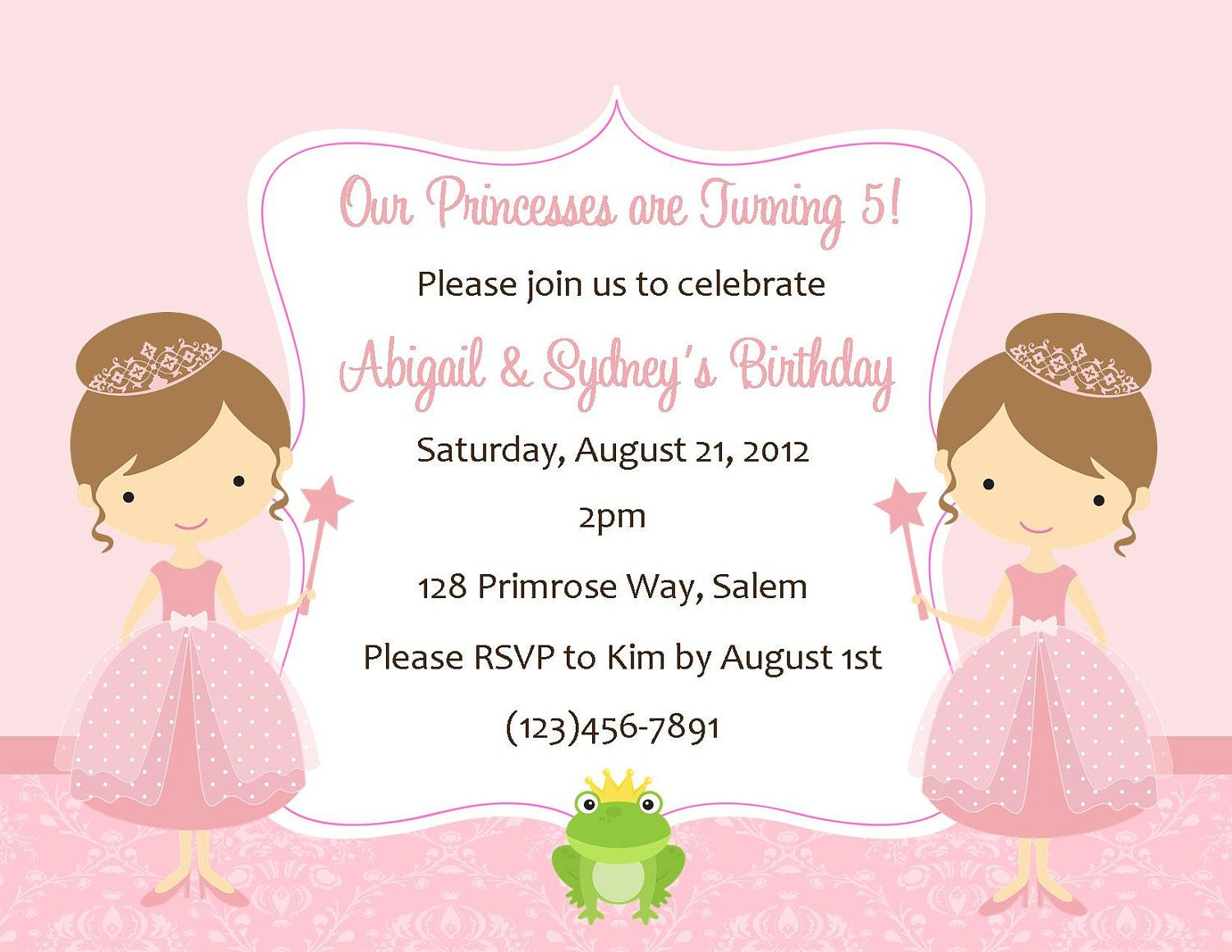 Twin princesss birthday invitation digital file free twin princesss birthday invitation digital file 1200 via etsy filmwisefo Choice Image