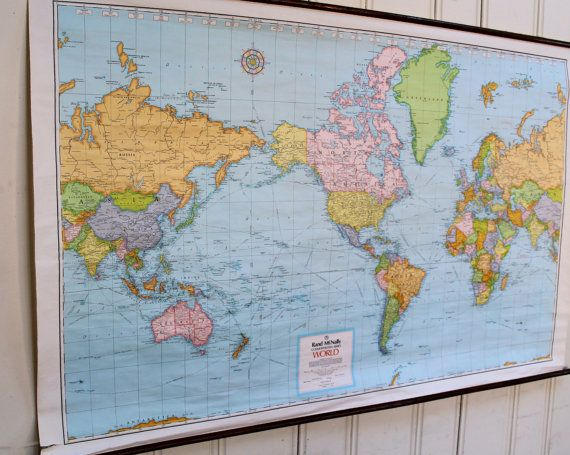 World Map Wall Hanging paper world map/ vintage hanging wall map/ classroom rolled chart
