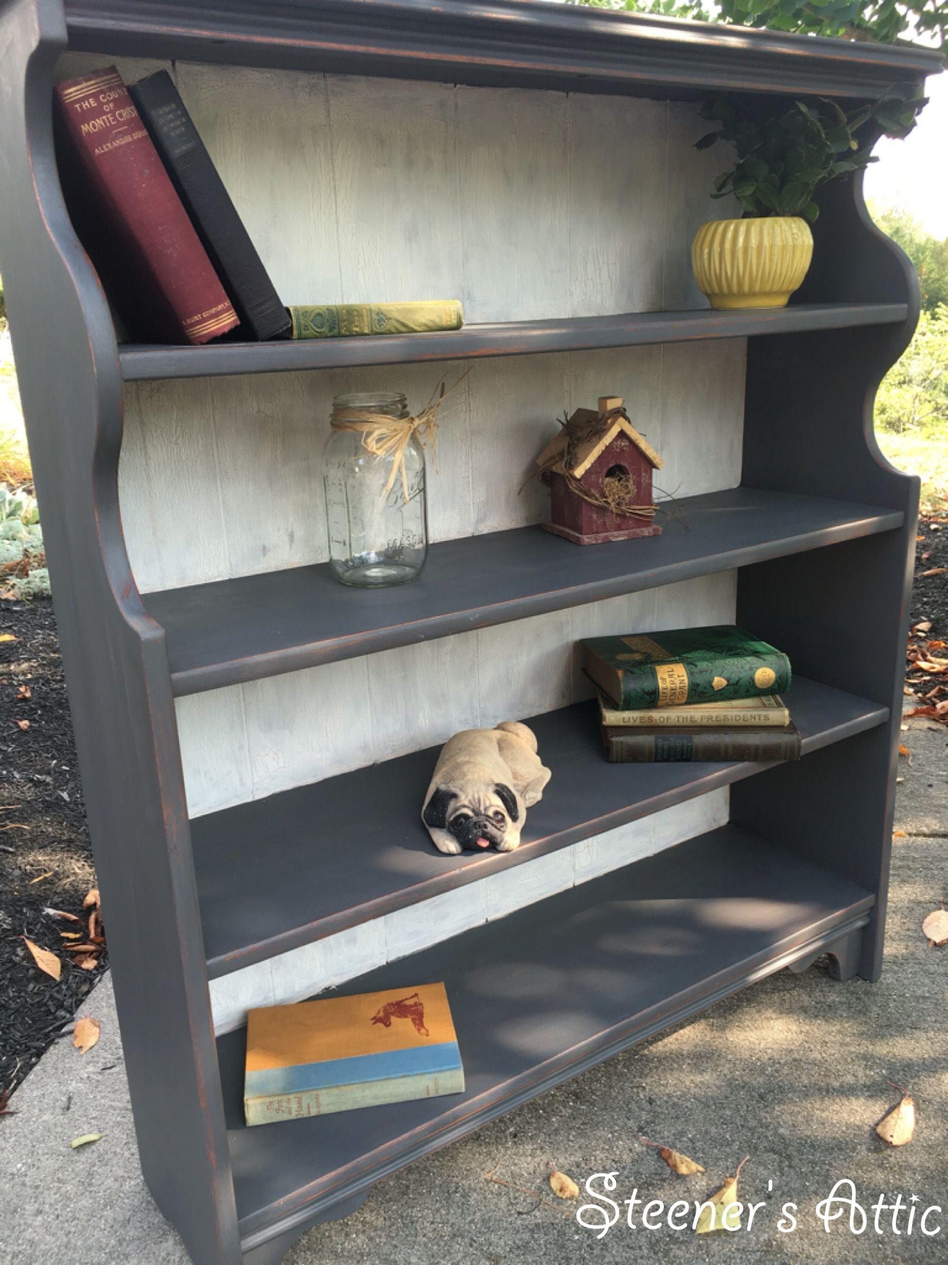 Refinished Bookcase Bookshelf. Maui Sand & Cottage White Chalk Paint. Crackle effect on back panel