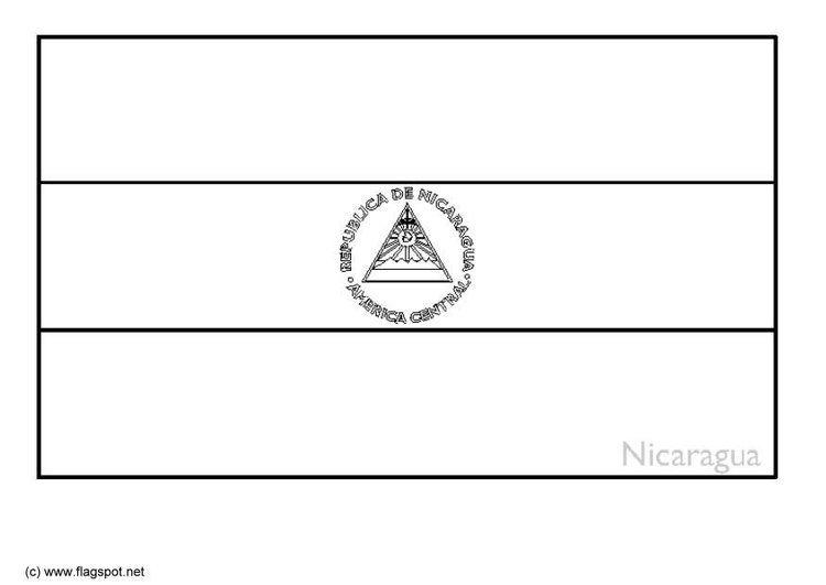Coloring Page Flag Nicaragua