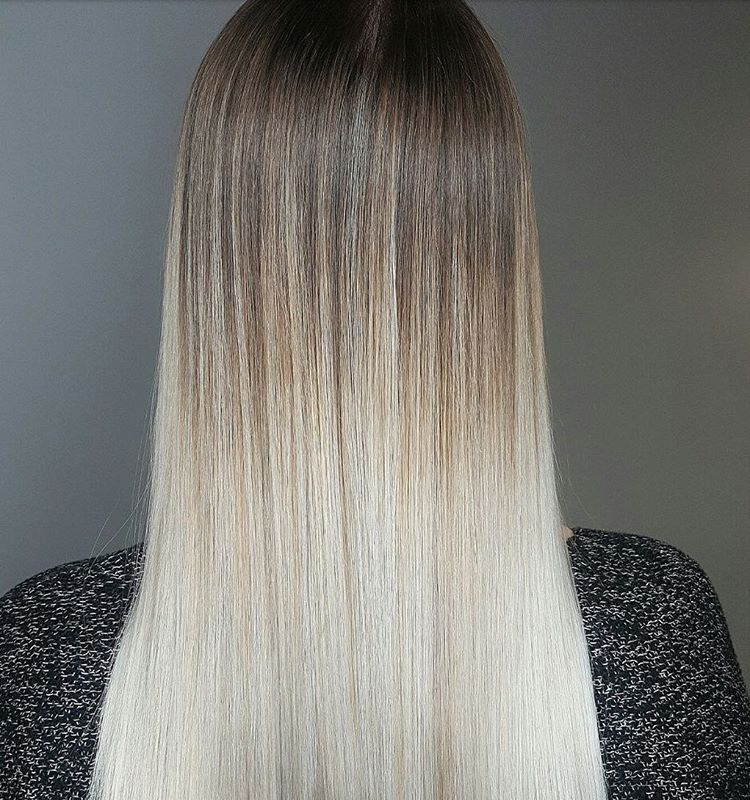 Stick Straight Long Dark Blonde Hair With Creamy Platinum Blonde Balayage White Ombre Hair
