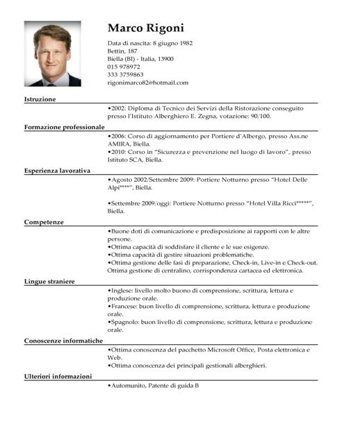 Curriculum Vitae X Operaio En 2020 Curriculum Vitae Modelos De