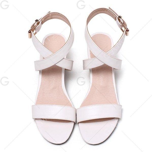 White 40 Mid Heel Buckle Strap Sandals