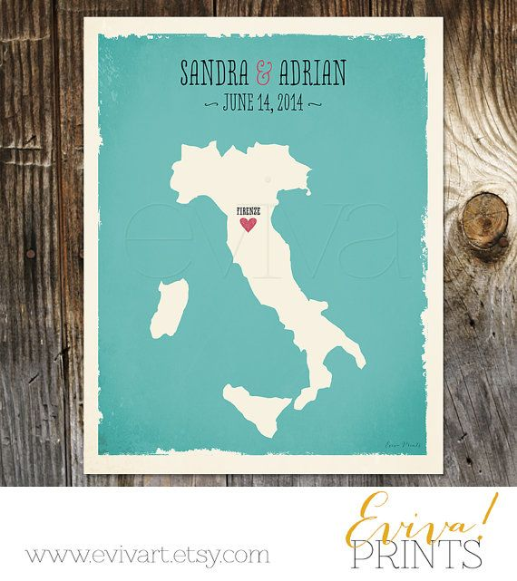 Wedding Abroad Invitation Wording Ideas: Italy Custom Wedding Print Geography Love Collection By