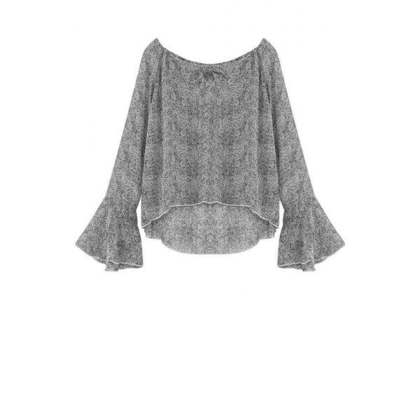 85d417321d64d9 Yoins Off The Shoulder Blouse with Flare Sleeves (189.915 IDR) ❤ liked on Polyvore  featuring tops