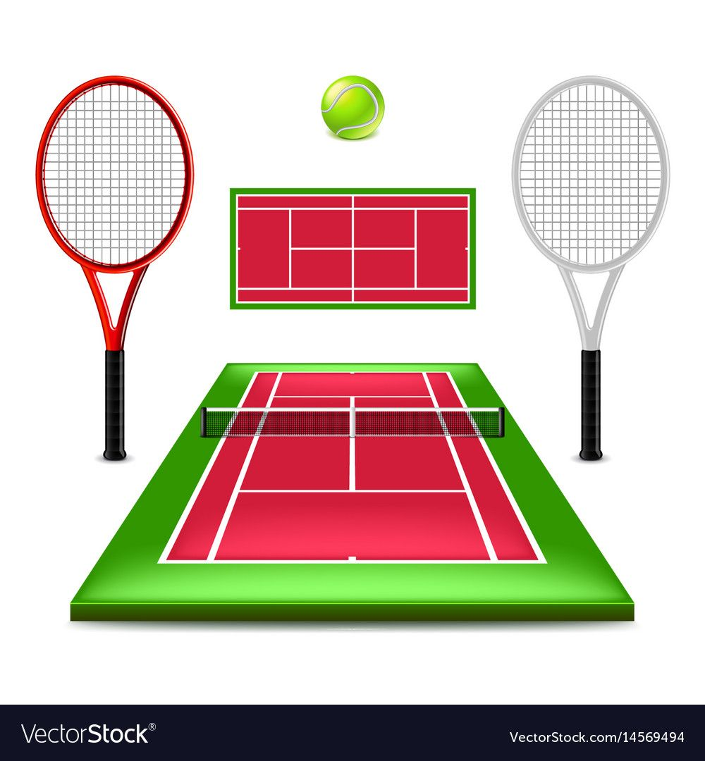 Tennis Court Set Isolated On White Vector Image On Vectorstock In 2020 Vector Free Tennis Court Vector