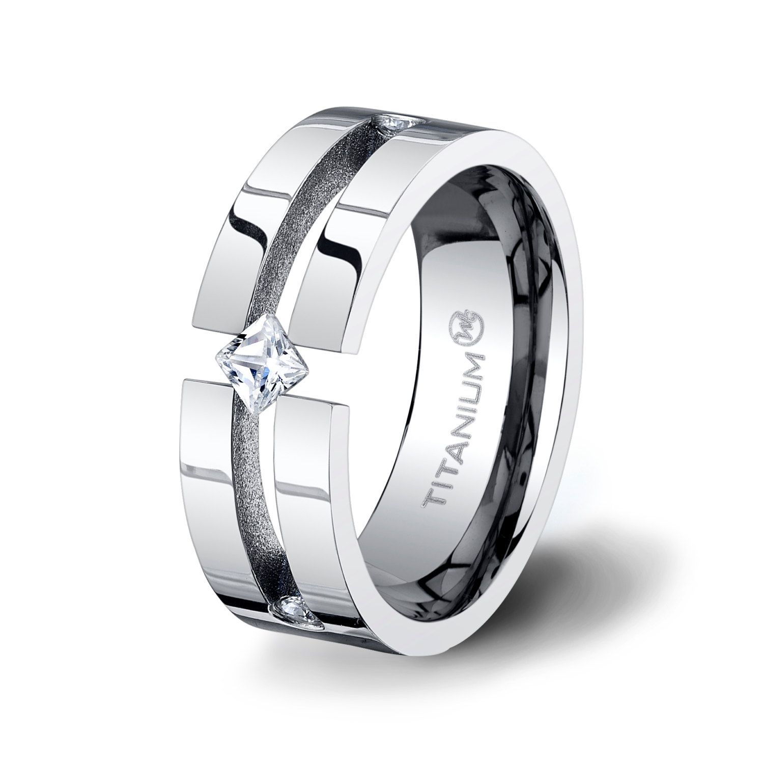 Titanium Ring Mens Wedding Band Tension Groove with a Princess Cut