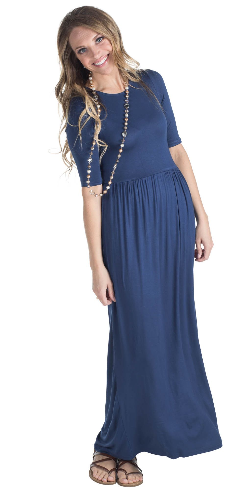 bb0111e373 Jen Modest Maxi Dress with Half Sleeves in Navy Blue