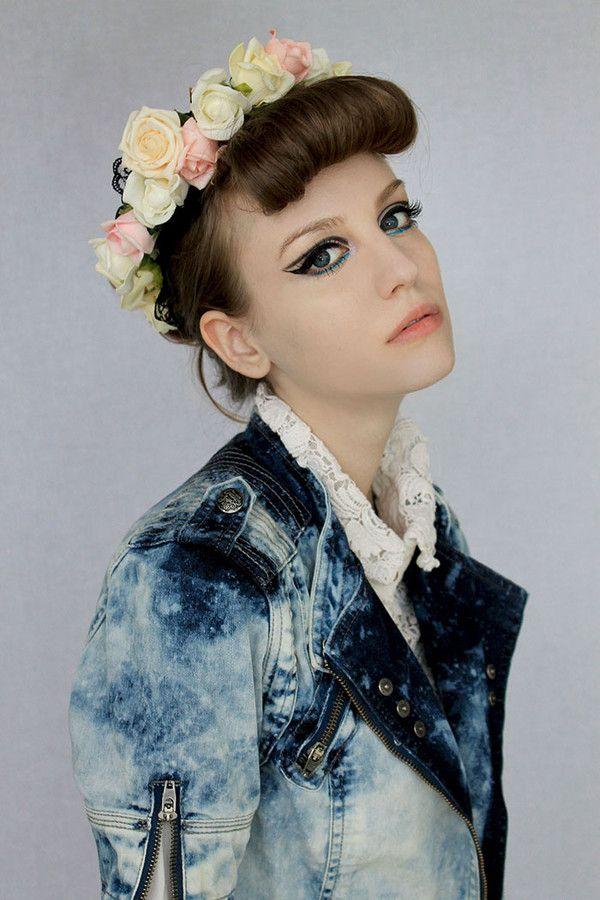 jacket kiki kannibal bleached denim denim jacket flower crown bleached denim jacket blue jacket