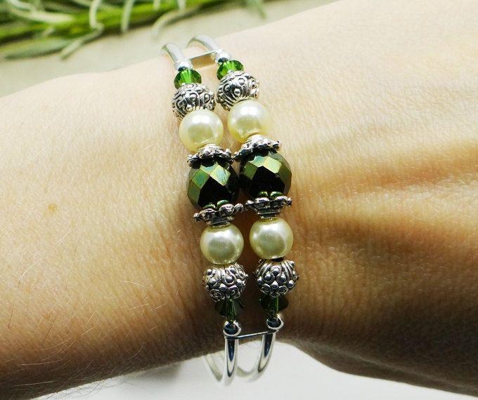 Memory Wire Bracelet Green Swarovski Crystals by ABeadApartJewelry