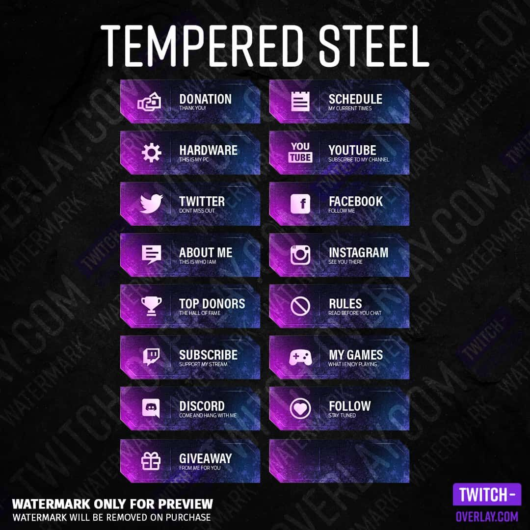 Tempered Steel Twitch Panels di 2020