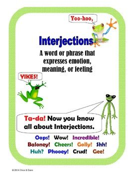 Interjections and the Emotion They Add Activity | TPT Can