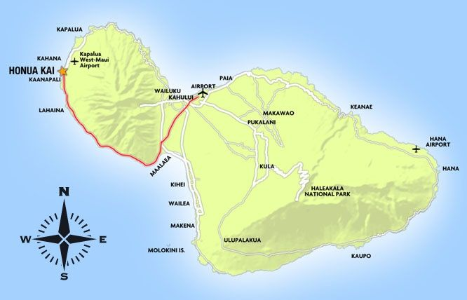 Airports In Maui Hawaii Map.Map Of Maui From Airport To Kaanapali Beach Other Side Of The