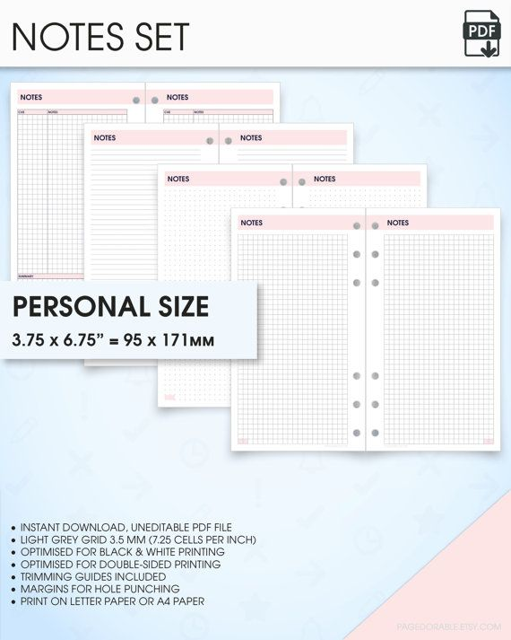 Notes filofax personal size planner inserts printable (grid notes - printable college ruled paper