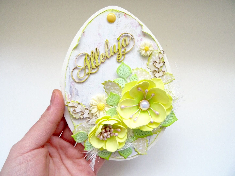 Easter egg handmade scrapbooking card with foamiran flowers