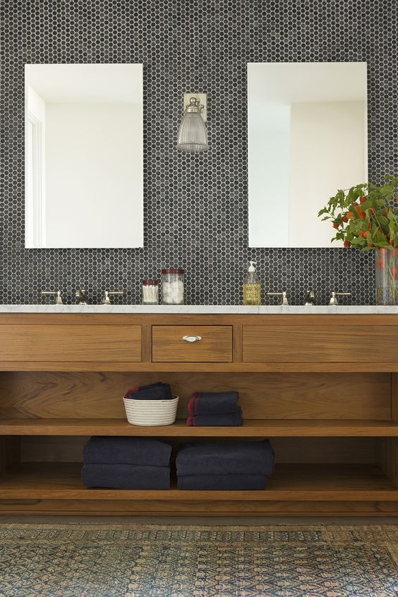 21 Natural Bathroom With Black And Grey Penny Tiles In The Sink Area    DigsDigs