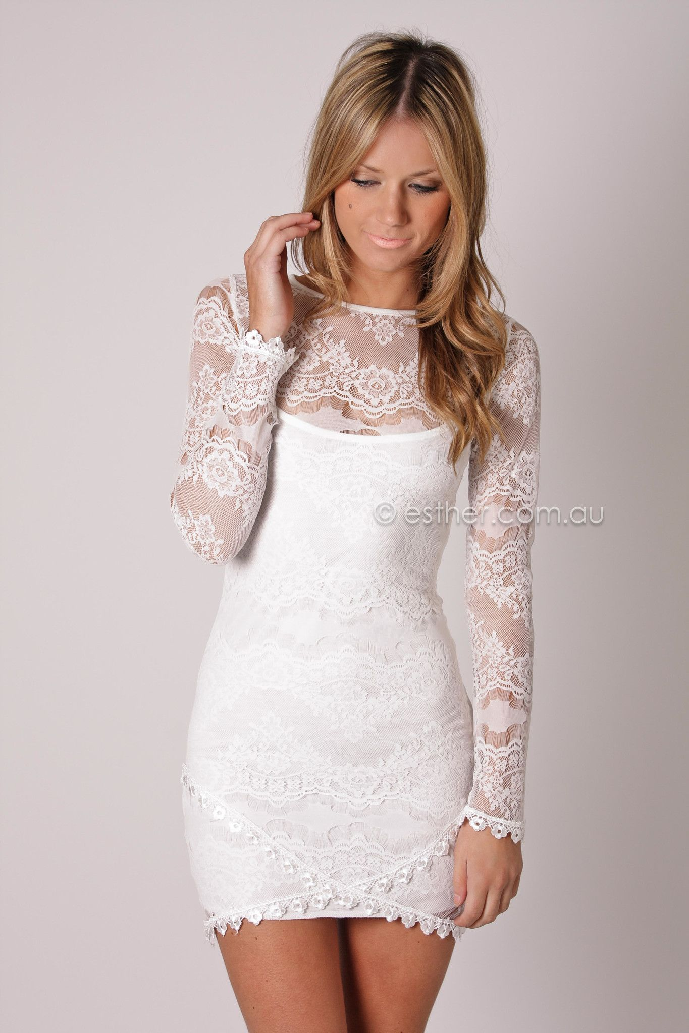 Lace dresses for wedding reception  white long sleeve lace dress  my style  Pinterest  White long