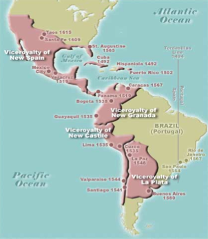 Colonial South America Map.Map Of Spanish Conquests In North And South America Between 1492