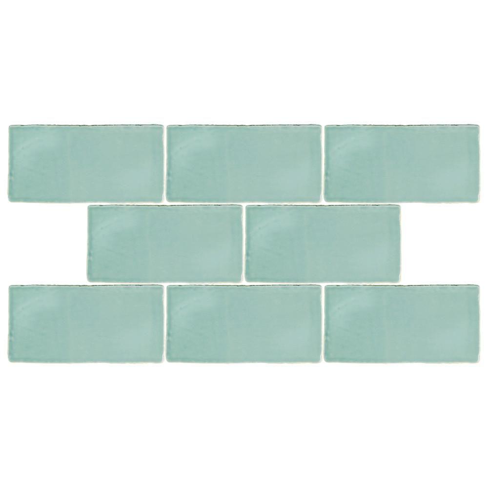 Merola Tile Chester Acqua 3 in. x 6 in. Ceramic Wall Tile (1 sq. ft ...
